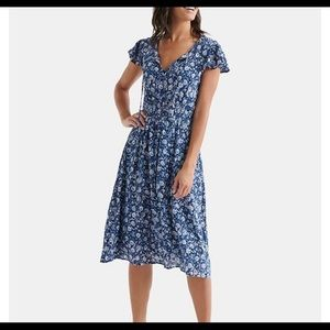 Lucky Brand Olivia Floral-Print Shirred Dress XS